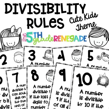 Divisibility Rules Posters Cute Kids Theme ~Black & White~ For Easy Printing