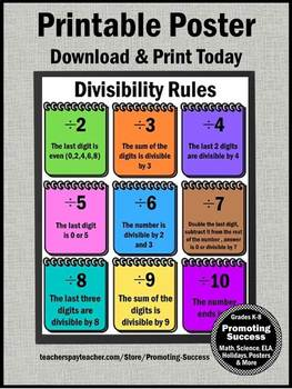 Divisibility Rules Poster, Division Anchor Charts Supplements Number Theory Unit