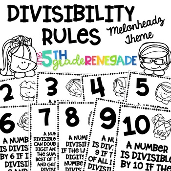 Divisibility Rules Posters Melonheadz Theme ~Black & White~ For Easy Printing