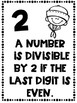 Divisibility Rules Posters Nautical Theme ~Black & White~ For Easy Printing