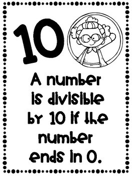 Divisibility Rules Posters Superhero Theme ~Black & White~ For Easy Printing