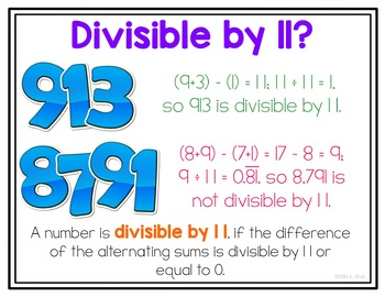 Divisibility Rules Posters and Interactive Notebook INB set