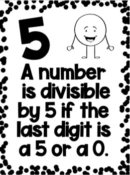 Divisibility Rules Posters in Black & White Easy Printing with a Dot Dudes Theme