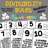 Divisibility Rules Posters in Black and White Easy Printing Bumblebee Bee Theme