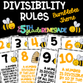Divisibility Rules Posters in Color with a Bumblebee Bee Theme