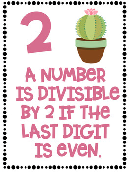 Divisibility Rules Posters in Color with a Cactus Succulent Theme