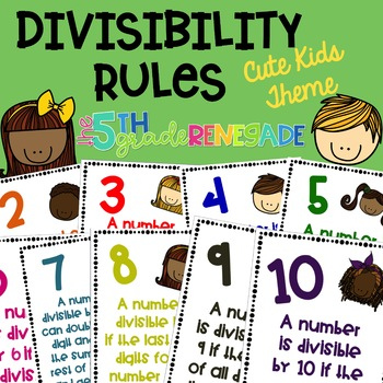 Divisibility Rules Posters in Color with a Cute Kids Theme