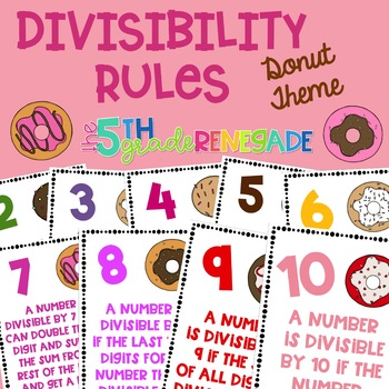 Divisibility Rules Posters in Color with a Doughnut Donut Theme