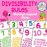 Divisibility Rules Posters in Color with a Flamingo Tropical Theme