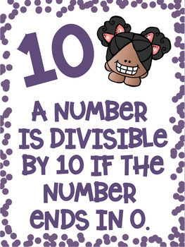 Divisibility Rules Posters in Color with a Melonheadz Clipart Theme