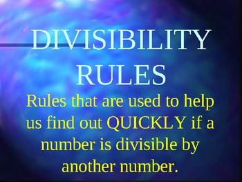 Divisibility Rules PowerPoint