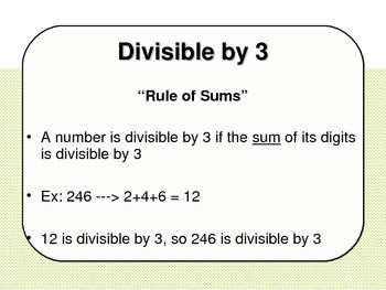 Divisibility Rules PowerPoint and Activity