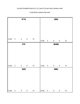 Divisibility Rules Practice & Answer Key