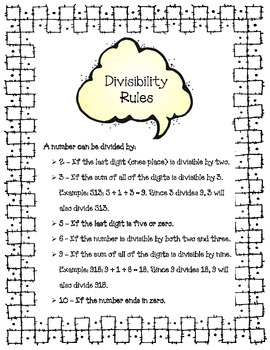 Divisibility Rules Printable
