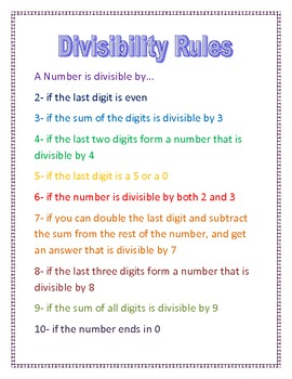 image about Divisibility Rules Printable identified as Divisibility Legal guidelines Printable