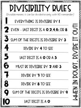 photo about Divisibility Rules Printable named Divisibility Pointers Printable Anchor Chart printer helpful