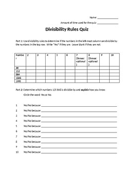 Divisibility Rules Quiz Worksheets Teaching Resources Tpt