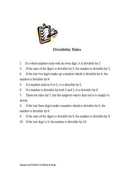 Divisibility Rules Reference Sheet