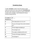 Divisibility Rules Review Sheet or Anchor Chart