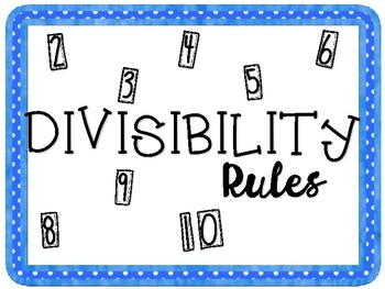 Divisibility Rules Set Posters