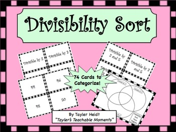 Divisibility Rules Sorting Activity