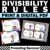 Divisibility Rules Task Cards Division Practice 4th Grade Math Review Digital