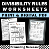 Divisibility Rules Worksheets, Division Practice, 4th Grade Math Review Digital