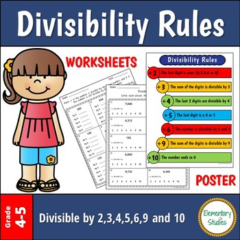 Divisibility Rules Worksheets and Poster