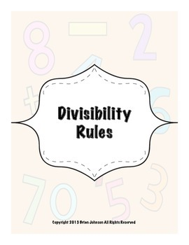 Divisibility Rules! {Worksheets to Teach Rules... by Brian Johnson ...