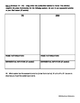 Divisibility Rules and Prime Factorization Quiz