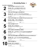 Divisibility Rules and Worksheet