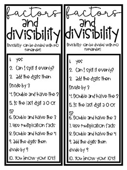 Divisibility Rules for Factors