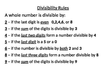 Divisibility Rules handout/poster for students