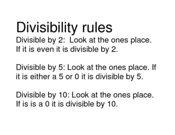 Divisibility Rules using Visuals and Music