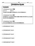 Divisibility Rules worksheet.