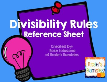Divisibility Student Reference Sheet
