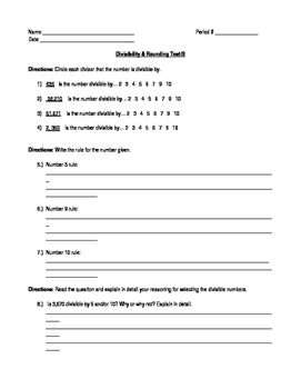 Divisibility and Rounding Assessment