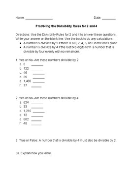 Divisibility by 2 and 4 practice
