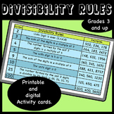 Divisibility rules- Activity Cards (Printable and Digital)