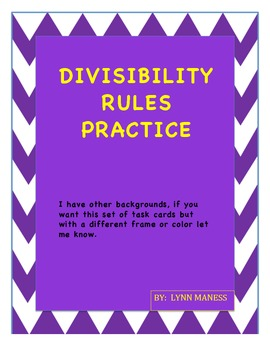 Divisibility task cards with QR check page STAAR review