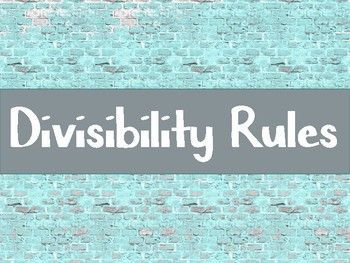 Divisibilty Rules Posters for Classroom