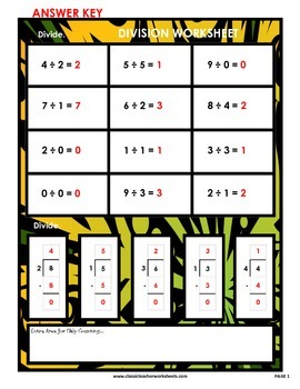 Division 1-Digit by 1-Digit Vertical/Horizontal Form-Grades 3-4 (3rd-4th Grade)