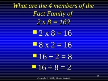 Common Core 3rd - Division 11 - Writing the Fact Families of 8 & Review