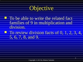 Common Core 3rd - Division 12 - Writing the Fact Families of 9 & Review