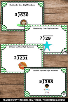Long Division Task Cards 5th Grade Math Centers with Remainders and Answer Key