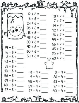 Division Worksheets - Halloween