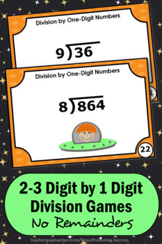 Division without Remainders, Long Division Task Cards