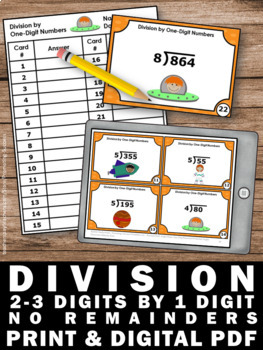 Division Task Cards 4th Grade Math Review, No Remainders with 1 Digit Divisors