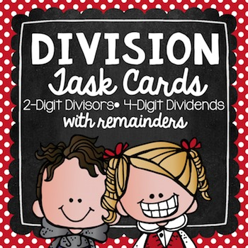 Division with Remainders Task Cards for Centers, Review, Scoot, & Test Prep