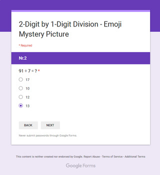 Division: 2-Digit by 1-Digit - EMOJI Mystery Picture - Google Forms